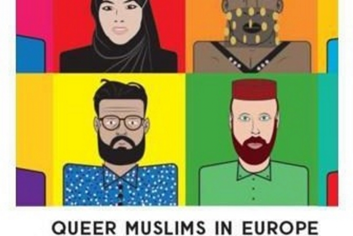 Boekcover 'Queer Muslims in Europe' met cartoonportretten van moslims