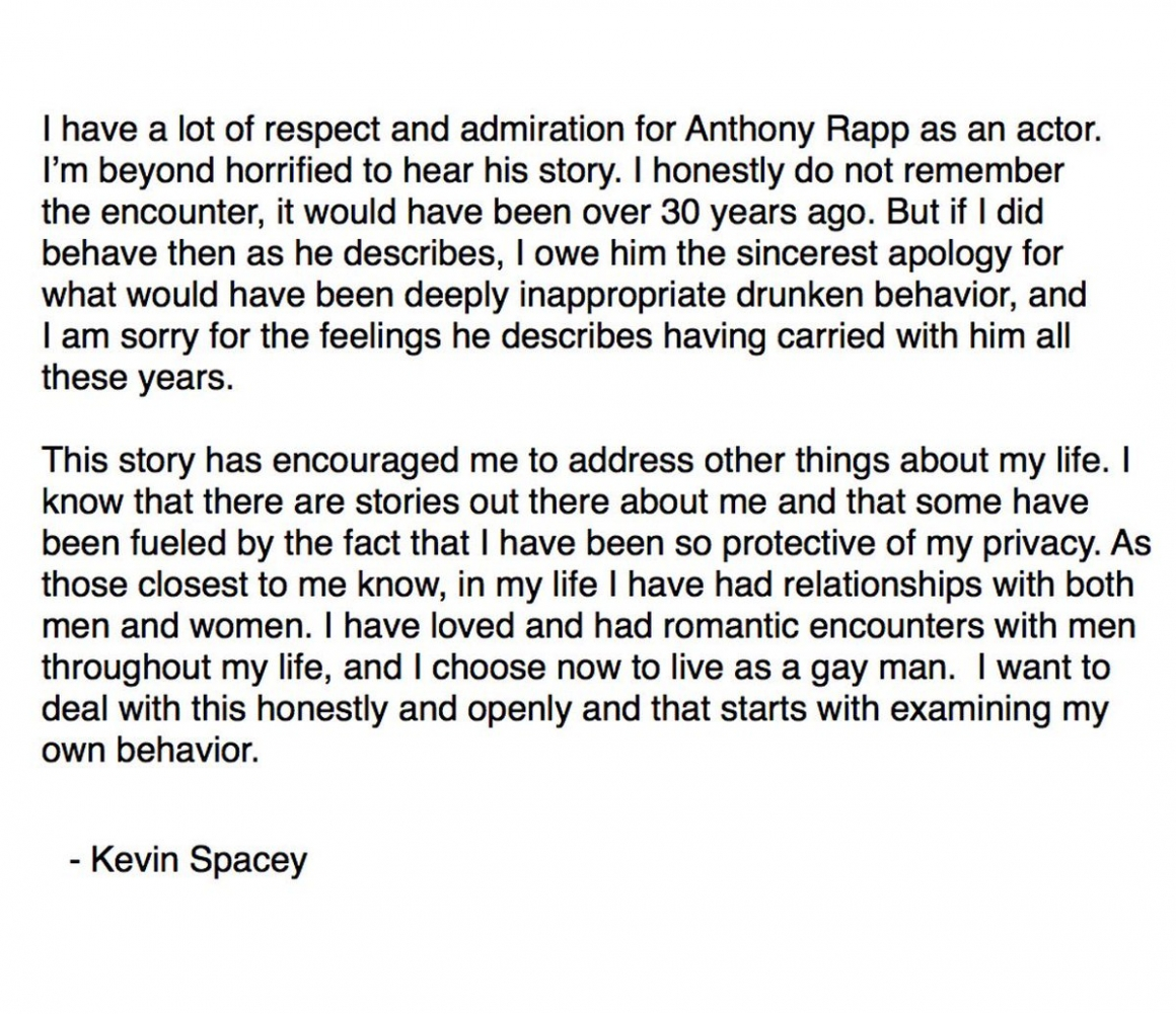 Statement Kevin Spacey