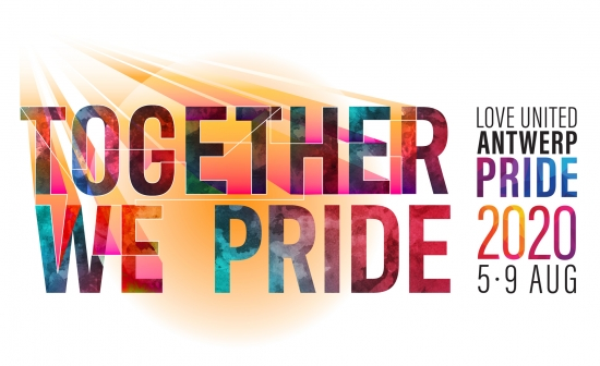 Banner van Antwerp Pride 2020 met de datum en de slogan 'Together we pride'