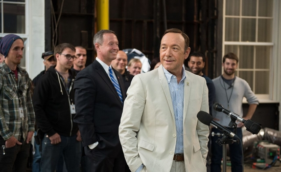 Kevin Spacey op de set van House Of Cards