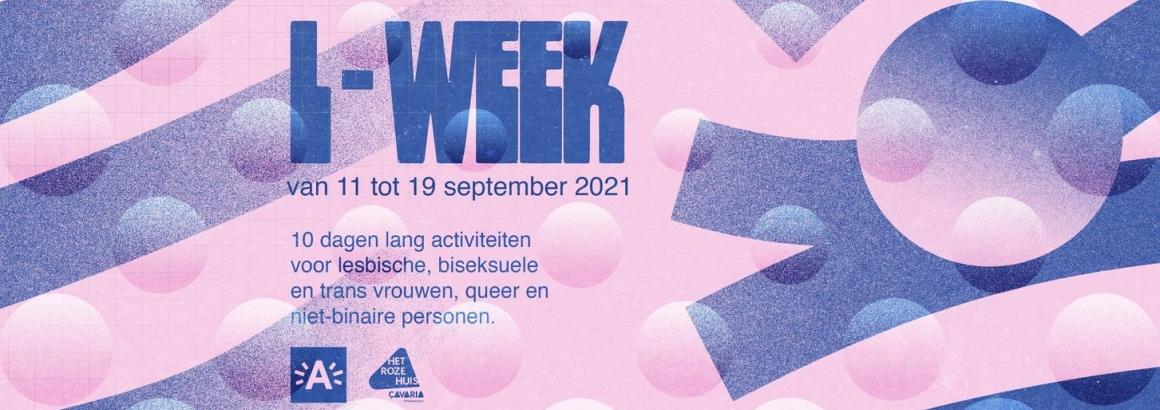 flyer met info over de L-week van 2021 in Antwerpen door het roze huis